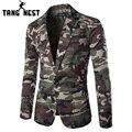 Tangnest 2017 camuflagem cor new design primavera outono homens casual blazer hot sale da moda um botão ternos tamanho asiático mwx309