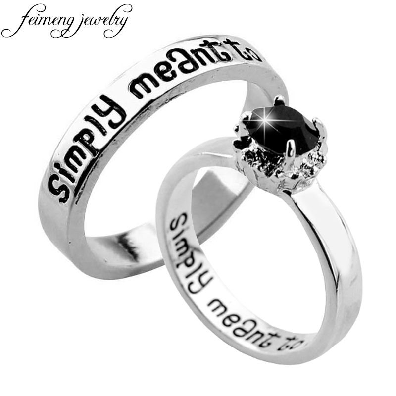 feimeng jewelry The Nightmare Before Christmas Ring Sally And Jack We are Simply Meant to Be Letter Ring For Women Charm Jewelry Rings    - AliExpress