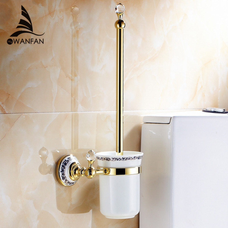 Toilet Brush Holders Wall Mounted Bathroom Accessories Brass Crystal Bathroom Decoration Accessory Bathroom Products 6304