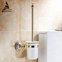 Настенные аксессуары для ванной комнаты латунь и кристалла держатель для туалетной щетки, ретро печати chrome ванная комната продукты free доставка 6304