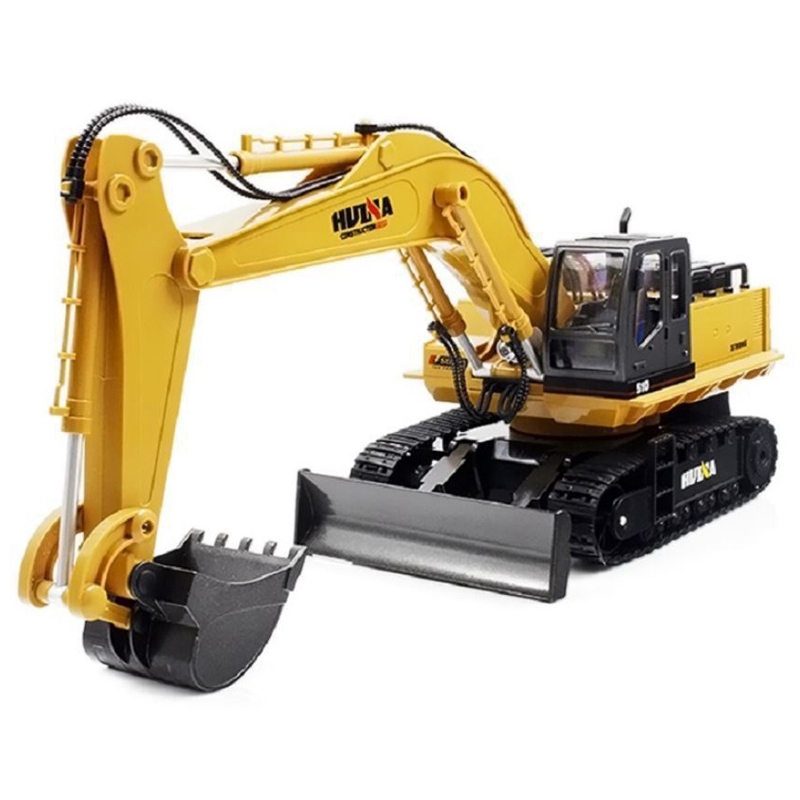 HUINA 1510 RC 2.4G 11CH Metal Remote Control Engineering Digger Truck Model Toy rc excavator 15ch 2 4g remote control constructing truck crawler digger model electronic engineering truck toy радиоуправляемые ма