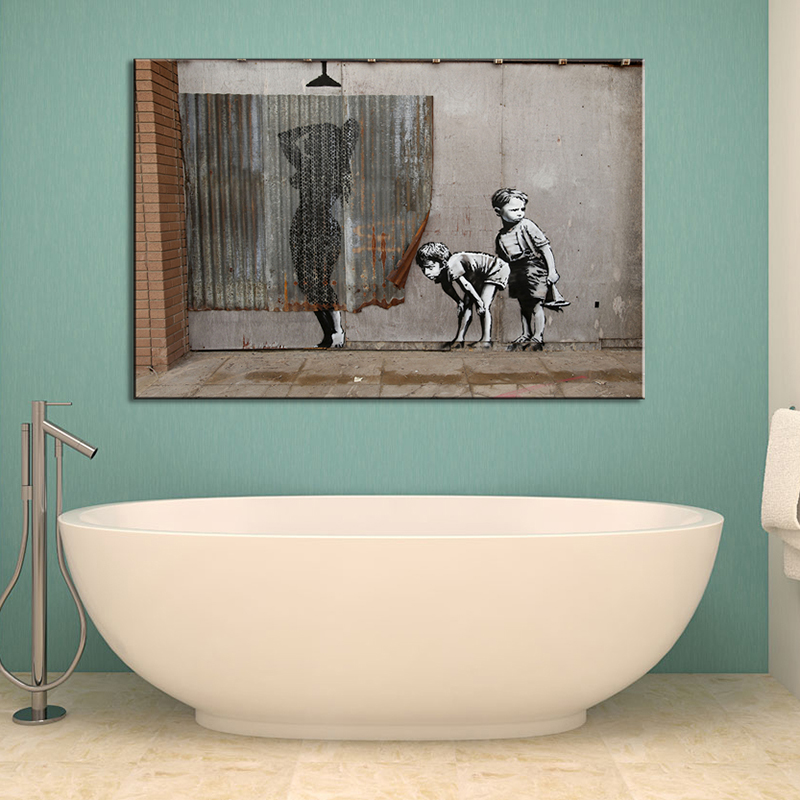 1 Pcs Retro Banksy Art Boys Peeping Canvas Painting Abstract Nude Women Shower Bathroom Decoration Wall