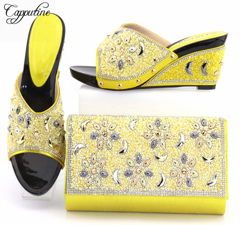 Capputine African Style Shoes And Bag To Match High Quality Italian Shoes and Bag Set Nigerian Party Shoe and Bag Set Wedding capputine italian fashion design woman shoes and bag set european rhinestone high heels shoes and bag set for wedding dress g40