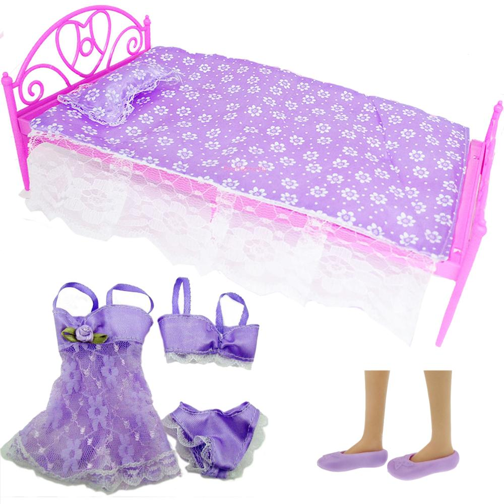3 Set Purple Bedroom Accessories = 1x Bed + 1x Pajamas + 1x Flat Shoes Dollhouse Accessories Clothes For Barbie Doll DIY Toy