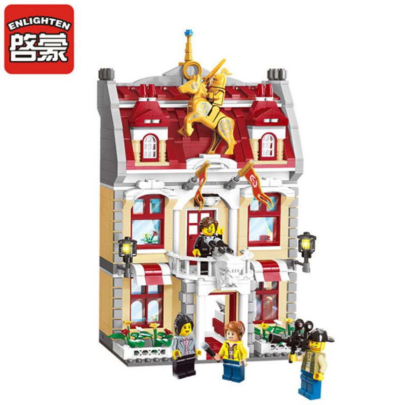 ENLIGHTEN 742Pcs Legoings City Government Hall City Hall Building Blocks DIY Assembly Bricks Educational Toys for Children city marriage room enlighten 613pcs 1129 wedding bridegroom building blocks bricks educational toys for children