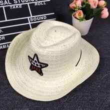 2018 nuevo verano otoño niños Caps Cowgirls sombreros de vaquero para niños  patrón de estrellas paja con Cable c27b9a46b1b