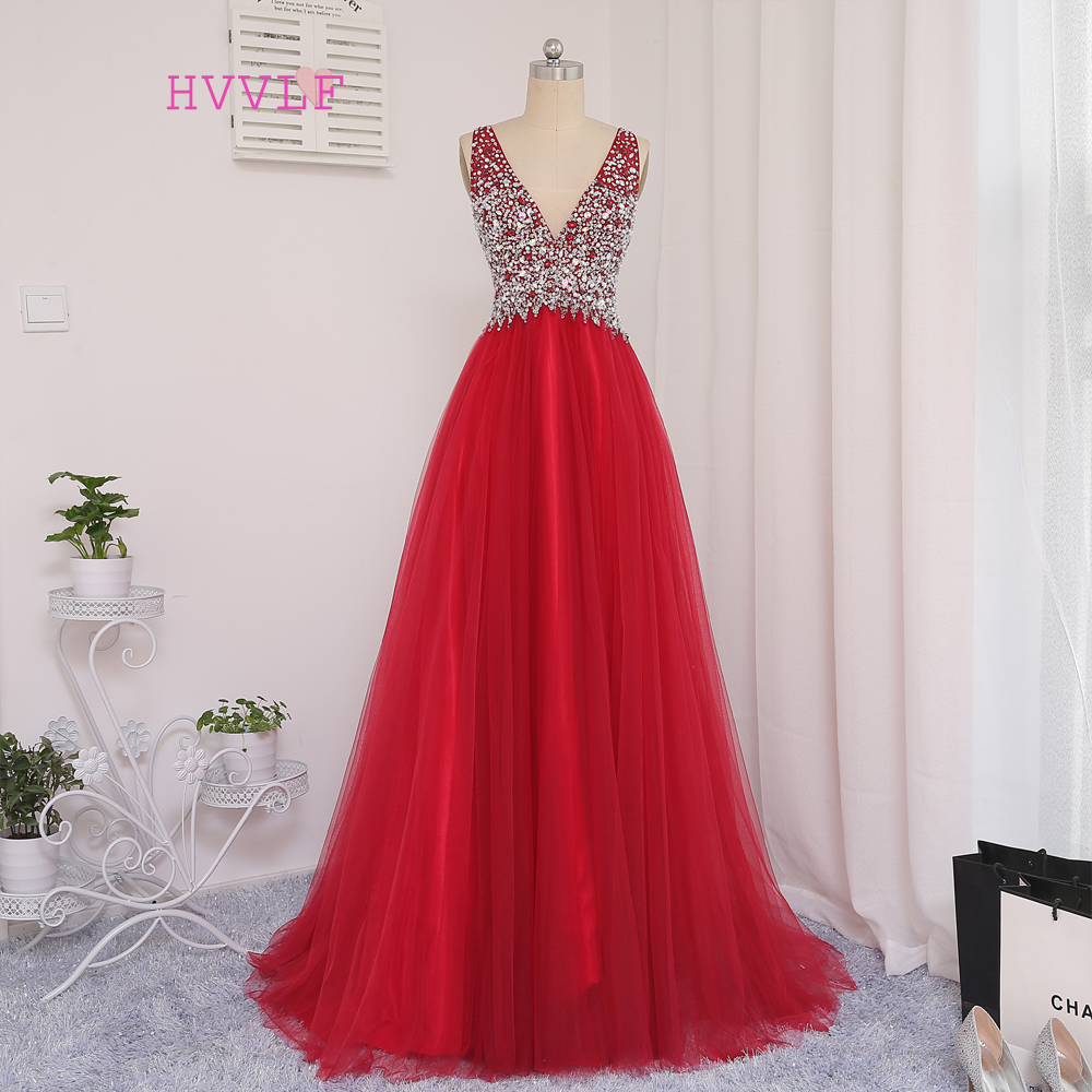 New Red 2019   Prom     Dresses   A-line Deep V-neck Tulle Beaded Crystals Long Backless   Prom   Gown Evening   Dresses   Evening Gown
