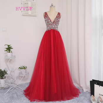 New Red Prom Dresses A-line Deep V-neck Tulle Beaded Crystals Long Backless Prom Gown Evening Dresses Evening Gown