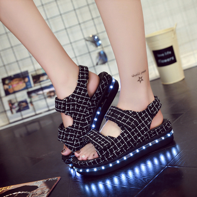 5c495fd315ed Celebrity Same Paragraph Sandals Summer Women Light Up LED Platform Shoes  High Heels Waterproof Casual Hook Loop Lazy Sapatos
