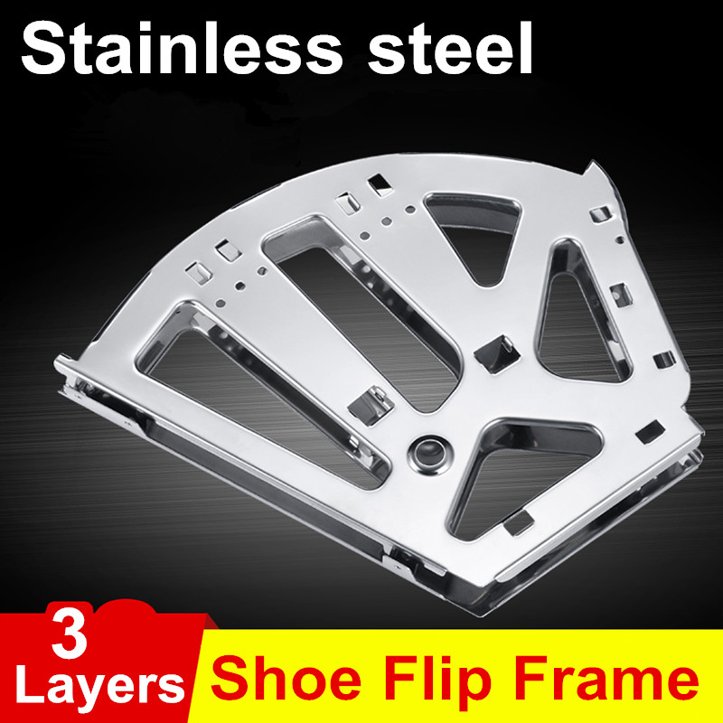 1Pair Stainless Steel 3 Layers option Shoe Rack Flip Frame  Black Color Hidden Hinge free shipping 3 layer shoe bucket rack accessories hardware shoe flip frame plate turnover bracket three hidden layer rack