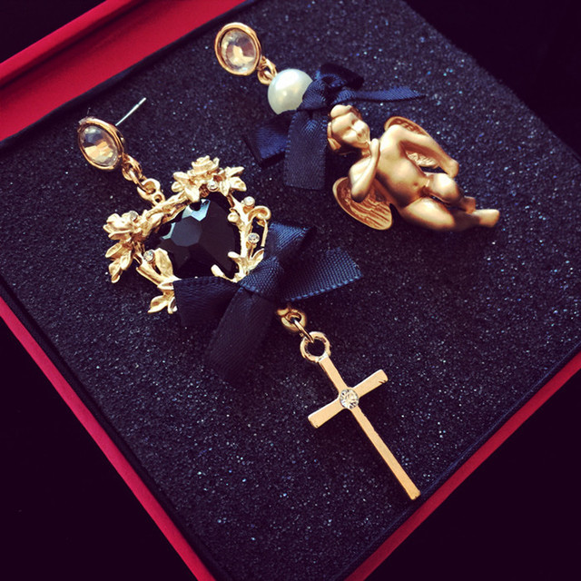 New Euramerican Palace Vintage Pop Baroque Style Brand Jewelry Lace bow Angel Cross Pearl Earrings Pendientes Women Accessories
