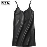 Vestidos Women 2018 Sexy New Sleeveless Dresses V Neck Fashion Genuine Leather Robe Femme Harness Strap Dress Female Plus Size