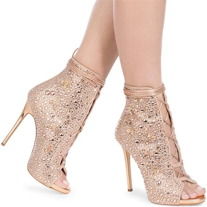 2019 Runway Bling Bling High Heels Ankle Boots Open Toe Crystal Gladiator Sandal Boots Glitter Rhinestone Lace-up Short Booties