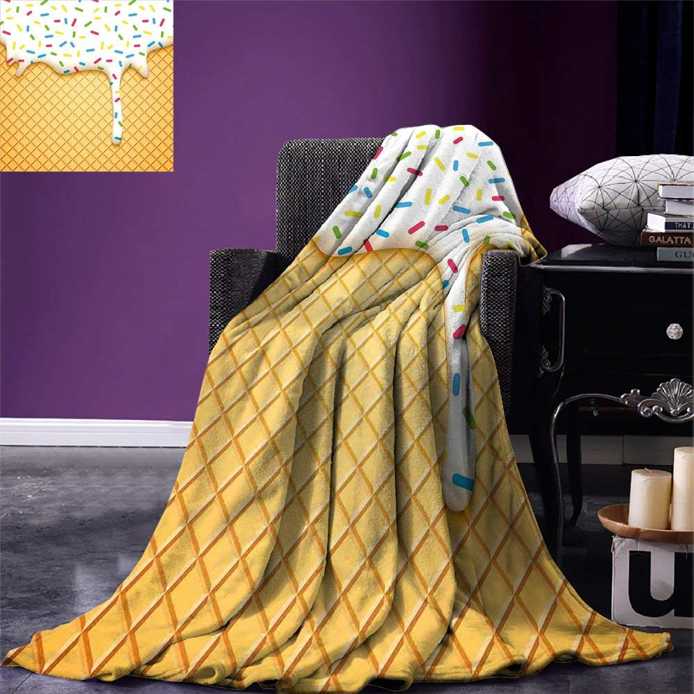 Food Throw Blanket Cartoon like Image of and Melting Ice Cream Cones Colored Sprinkles Artistic Print Warm Microfiber