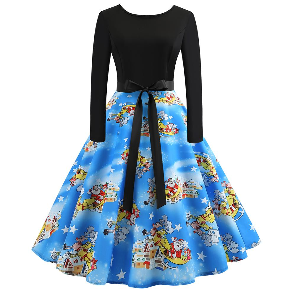2018 New Christmas Print Santa Snowman Ladies Party Midi Swing Skater Dress Vintage Printing Long Sleeve Flare Dress