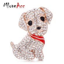 MloveAcc Lovely Mini Dog Brooches for Women Gold color Full Crystals Dog