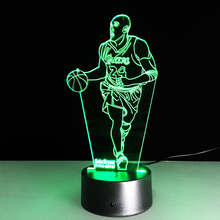 Hot sale Kobe Bryant Colorful gradient 3D night light Creative remote control or touch switch night light led table lamp gifts
