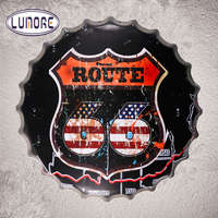 Route 66 Bottle Cap Vintage Metal Tin sign Home Decor Bar Plate Garage Pub Bar Rustic Wall Plaque Decor