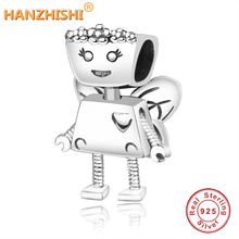 925 Sterling Silver Bead Charm Cute Butterfly Robot Floral Bella Bot Bead Fit Original Pandora Charm Bracelet Bangle DIY Jewelry(China)
