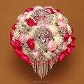 Lujo ramo de novia 2016 ventas calientes coloridos de la boda la celebración de flor con moldeado cristalino de la perla broche ramo de la boda accesorios