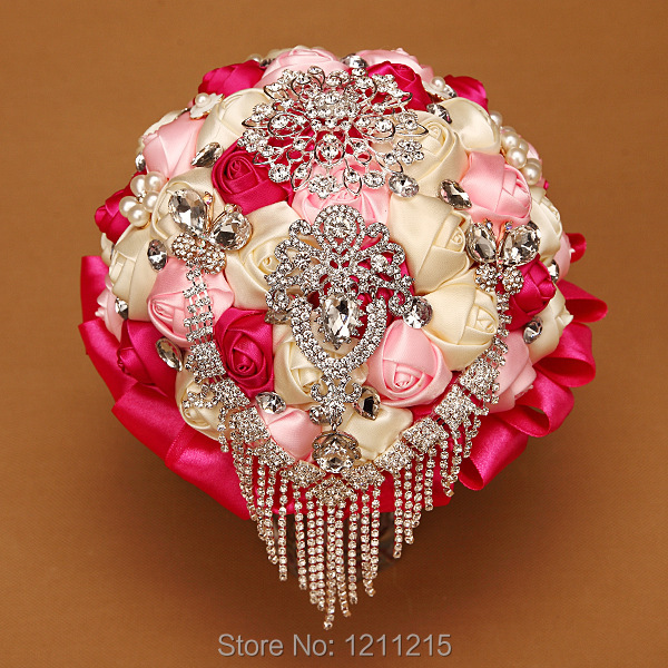 4ebbd87be Luxury Bridal Bouquet 2016 Hot Sales Colorful Wedding Holding Flower With  Crystal Beaded Pearl Brooch Bouquet Wedding Accessory-in Wedding Bouquets  from ...