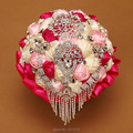 Luxury Bridal Bouquet 2016 Hot Sales Colorful Wedding Holding Flower With Crystal Beaded  Pearl Brooch Bouquet Wedding Accessory