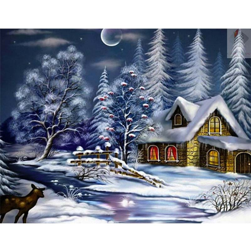 New 5D DIY Diamond Embroidery Snow Scenery Villa Round Diamond Painting Cross stitch Full Round drill Christmas Crafts in Diamond Painting Cross Stitch from Home Garden