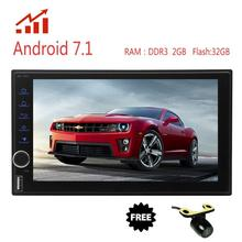 Free Rearview Camera Car Stereo Octa-core Android 7.1 2Din In Dash AM FM Radio Car Video with Bluetooth Wifi 4G GPS Navigation