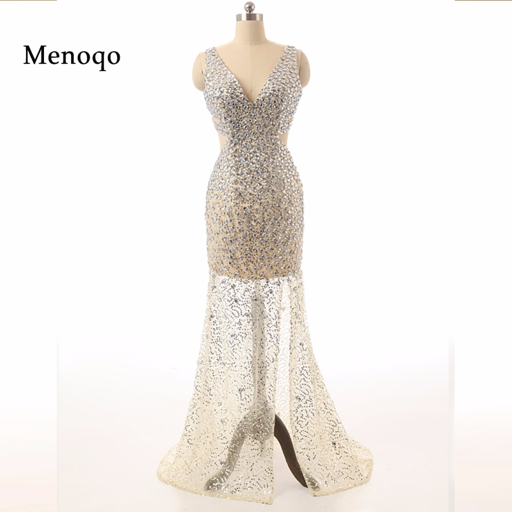 Sexy See through Beaded Crystal Mermaid High Split Abendkleider Special occasion   Dresses   Real Photo   evening     dresses   long 2019