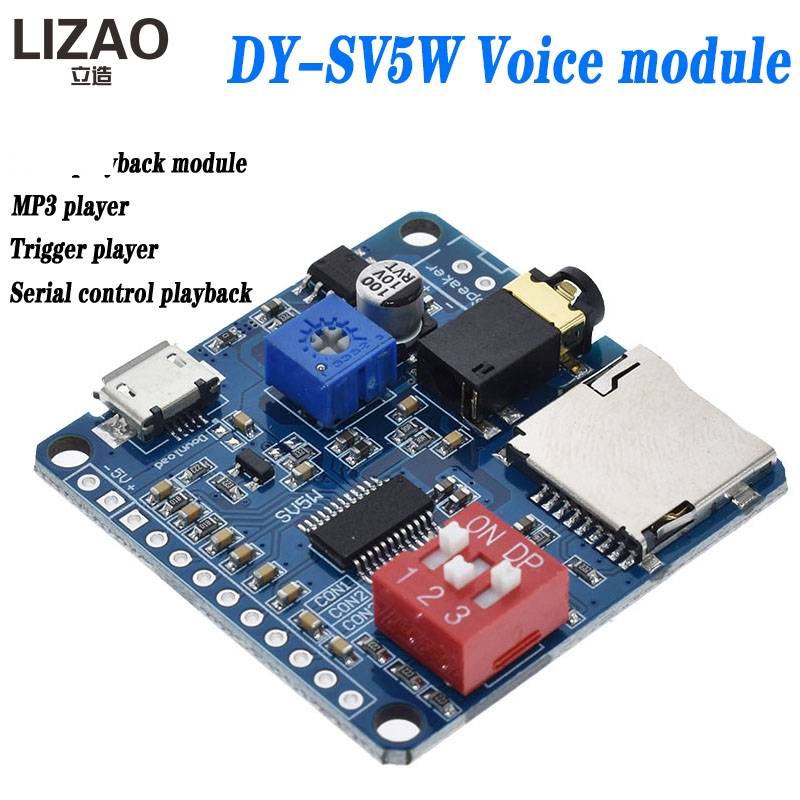 5W Smart voice play module Audio Amplifier Board Mp3 TF Card Player UART serial port control|Integrated Circuits|   - AliExpress