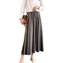 2019 Women Knitting A-Line Skirt High Waist Vintage Striped Women Winter Warm Lo