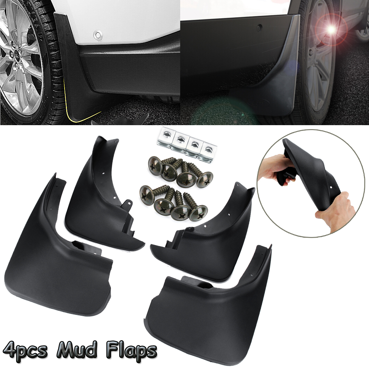 4pcs Car Front Rear Fender Flares Splash Guards Mud Flaps Mudguards Mudflaps for Ford Explorer 2011
