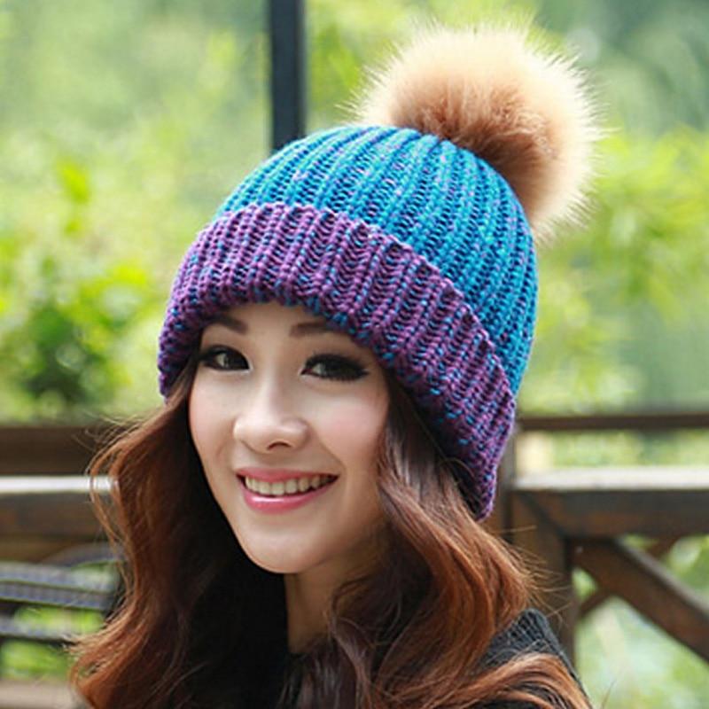 цена на Winter Knitted hats women big fur ball pom pom caps Crochet Hats For Women Patchwork Cute Casual Cap Women Beanies Gorros