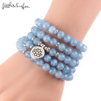 Little Minglou Luxurious Blue Natural Stone 108 Mala Lotus Bracelet or Necklace Reiki Charged Buddhist Rosary Bracelet