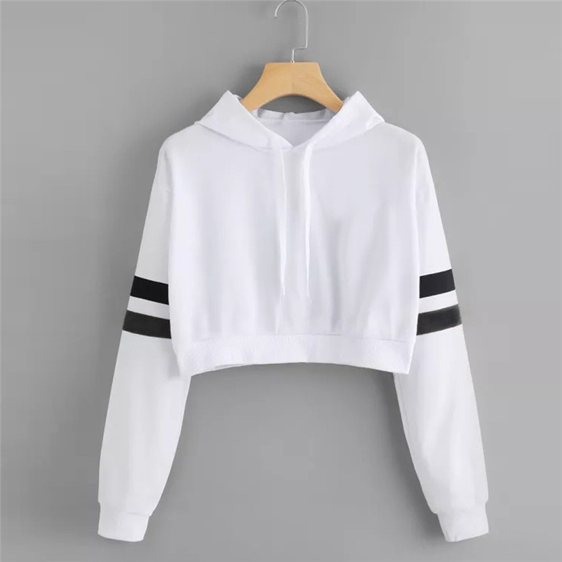 5d6296bc ... Womens Oversized Hoodies Pullover Solid Long Sleeve Crop Top Hoodies  Sweatshirt Women Hooded Pullover Dropshipping ...
