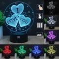 HUI YUAN I LOVEYOU RGB Cambiable Lámpara de estado de Ánimo de Luz Nocturna en 3D LED decorativa lámpara de mesa de luz dc 5 v usb conseguir un free control remoto