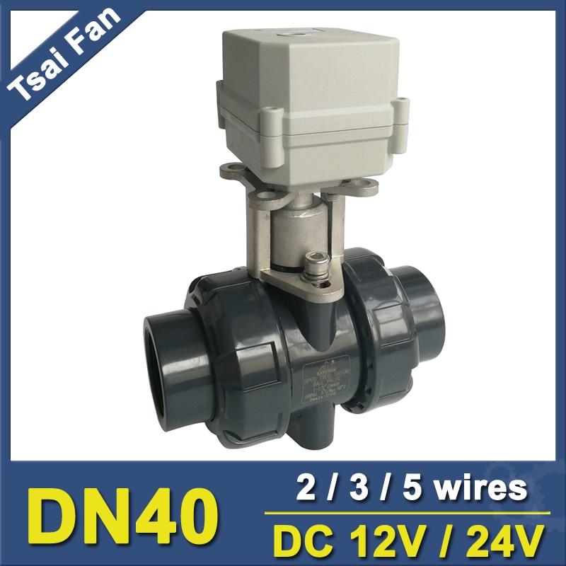 DC12V/24V PVC DN40 Actuator Valve BSP/NPT 11/2'' Motorized Ball Valve TF40-P2-C 10NM On/Off 15 Sec Metal Gear CE, IP67 motorized pvc valve 12v dn40 bsp 1 5 pvc valve 2 way electrical pvc valve cr01