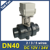 DC12V/24V PVC DN40 Actuator Valve BSP/NPT 11/2'' Motorized Ball Valve TF40 P2 C 10NM On/Off 15 Sec Metal Gear CE, IP67
