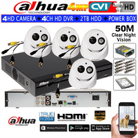 Dahua 4MP Security CCTV Camera HAC HDW2401EMP CVI Waterproof Dome Camera 4CH DH HCVR7104H 4M IR