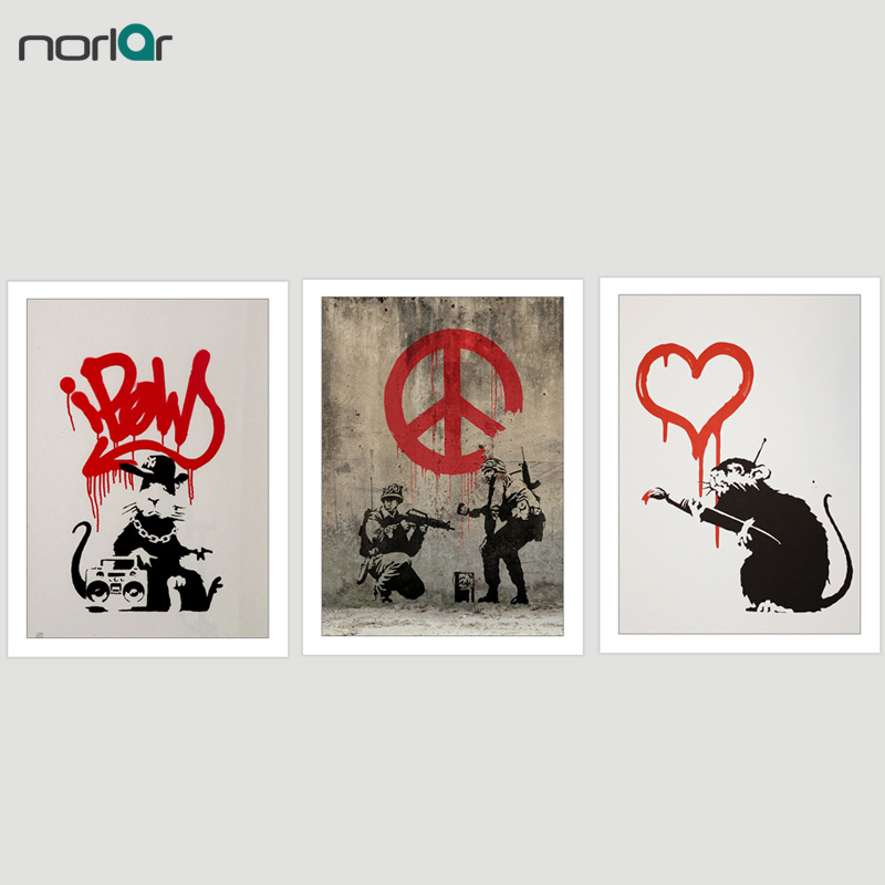 c0720e260cc HD Printed Popular Bansky Street Art Graffiti Soldiers And Love Rat Canvas  Painting Poster Wall Art Picture Home Decor NO Frame