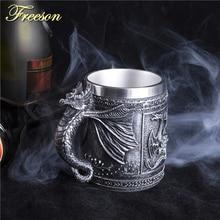 Retro Dragon Resin Stainless Steel Beer Mug Skull Knight Tankard Halloween Coffee Cup Creative Viking Tea Mug Pub Bar Decoration