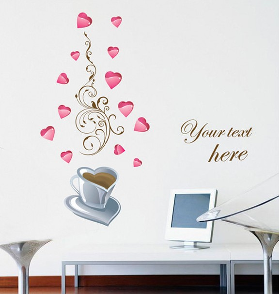 Free Shipping Home Decorative Mural Decal Art Vinyl Wall Sticker Writing Your Love Heart Pink Wallpaper