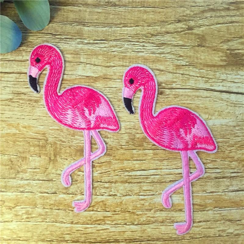 10 ШТ. Розовый фламинго птица животных утюг-на سانفرانسیسکو вышитые аппликация, шитье سانفرانسیسکو наклейки одежды одежды diy 16bt055