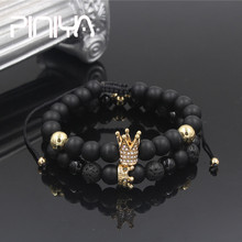 Fashion 2Pcs/Sets Natural Braiding Micro Pave CZ King Crown Bracelet Black Stone Beaded Sets