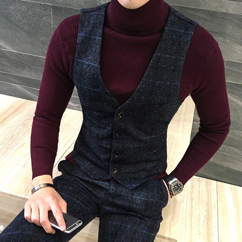 Image 2 - Chaleco grueso nuevo para hombre de calidad, chaleco a cuadros a  la moda de lana para invierno, chaleco Formal para hombre, Chaleco  Ajustado de talla grandevest foxvest blackvest han -