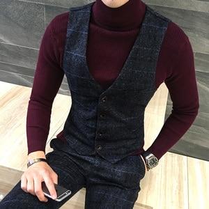 Image 2 - Jakość grube nowe mężczyźni kamizelka zimowa wełniana moda kamizelka w kratę mężczyźni formalne strój kamizelka Slim Fit kamizelka kamizelka Plus rozmiar Colete