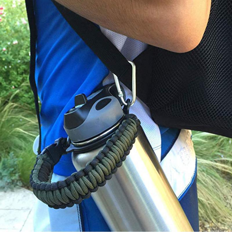 Держатель для чашки, переноска с кольцом, бутылка для воды, Паракорд, подходит для путешествий с широким ртом, простой походный ремешок с ручкой, Плетеный для гидроколбы