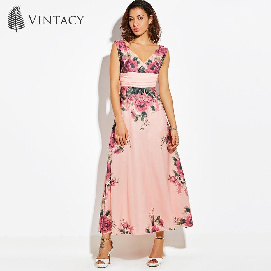 Vintacy Women Elegant Pink Maxi Dress Sexy High Waist Tunic A Line Chiffon Floral Dresses Fashion Party Celebrity Long Dress