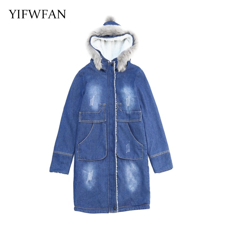 YIFWFAN Brand Fashion Fake Fur Hooded Parka Denim Jacket Women Thick Warm Fleece Velvet Outwear Jeans Oversized Long Winter Coat цены онлайн