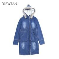 YIFWFAN Brand Fashion Fake Fur Hooded Parka Denim Jacket Women Thick Warm Fleece Velvet Outwear Jeans